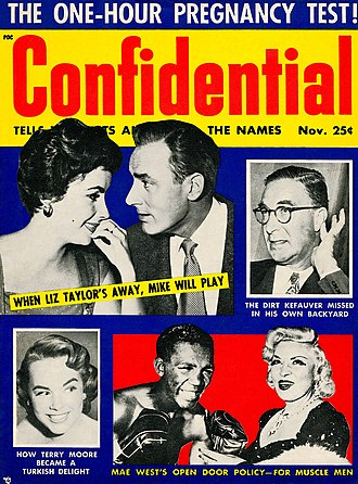 Confidential (magazine) - Confidential, November 1955, with cover stories on Mae West and Terry Moore