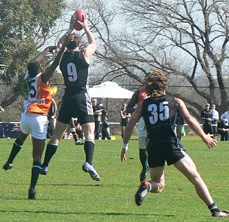2008 Australian Football International Cup - Image: Congalton mark against india international cup 2008