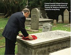 Wreath laying at Waldron's grave[1]