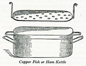 "Modern Cookery for Private Families - Wood engraving of ""Copper Fish or Ham Kettle"""