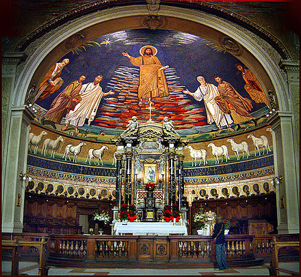 The apse of Santi Cosma e Damiano, commissioned by Pope Sergius I, depicted Christ as a lamb, a practice forbidden by the Quinisext Council. Cosmedamiao9b5.jpg