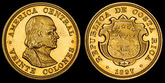 Costa Rican colón - Costa Rica 1897 20 Colones (proof), first year coins were issued