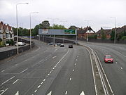 Coventry's inner ring road, as seen from approximately over where Larkin once lived in a now-demolished part of Manor Road. (photo 2007)