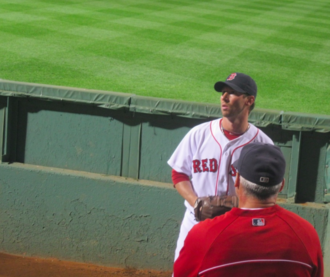 Craig Breslow - Craig Breslow warming up in the bullpen during the 2013 season