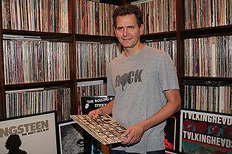 Craig Kallman - Kallman and some of the records from his extensive collection