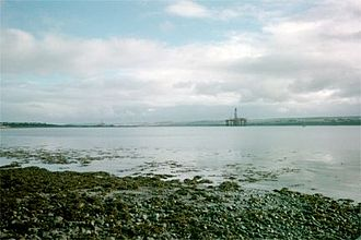 Cromarty Firth - Looking from Invergordon toward oil drilling rigs in the Cromarty Firth.