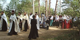 Old Believers - Russian Orthodox Old-Rite Church paschal procession in Guslitsa, Moscow region, 2008