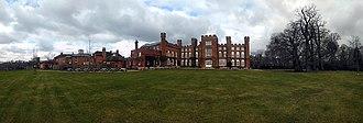Cumberland Lodge - Panoramic image of Cumberland Lodge and associated buildings from the south west.