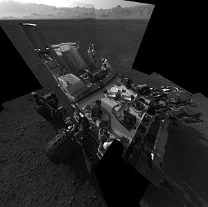Navcam - Curiosity's self-portrait shows the deck of the rover as viewed from the NavCams.