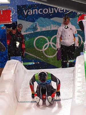 Luge - Departing German luger at the 2010 Olympics