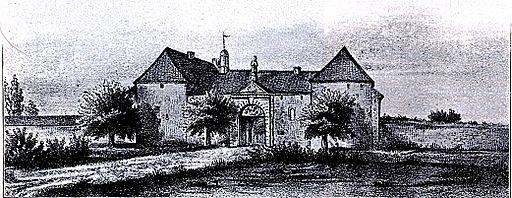 Düsseldorf, Kloster Düsselthal mit dem im Jahre 1716 erbauten Tor und den seitlichen Befestigungsbauten