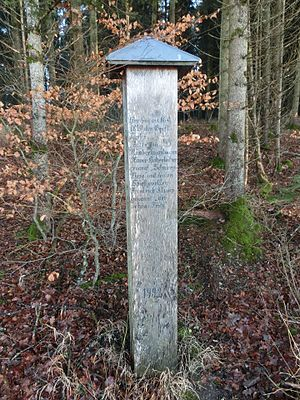 Xaver Hohenleiter - Commemorative pole near Ostrach at the place where Hohenleiter and his gang were arrested