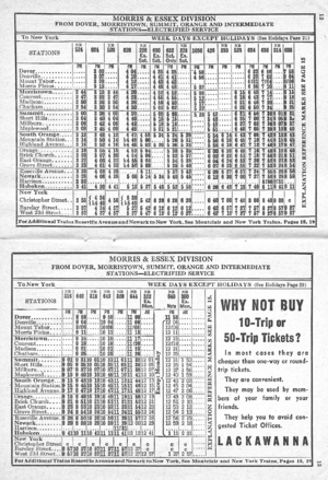 Morris and Essex Railroad - Delaware, Lackawanna and Western Railroad, suburban timetable (Form 10A), effective October 28, 1945, showing evening weekday reverse-peak electric service to Hoboken Terminal. and an advertisement for multi-ride tickets. This corresponds to today's NJ Transit Morris & Essex Lines.