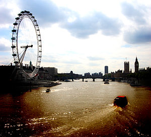 Central London - London Eye with river Thames