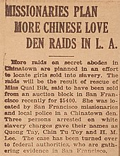 Newspaper story telling of actions against the sex trade