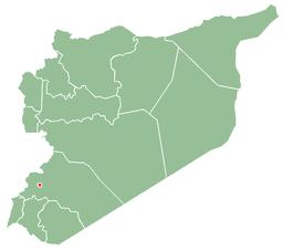 Damaskus' beliggenhed i Syrien (rød prik)