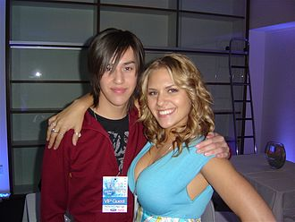 Adore Delano - Delano (then known as Danny Noriega) and Kady Malloy at the American Idol, Season 7, Top 12 after party