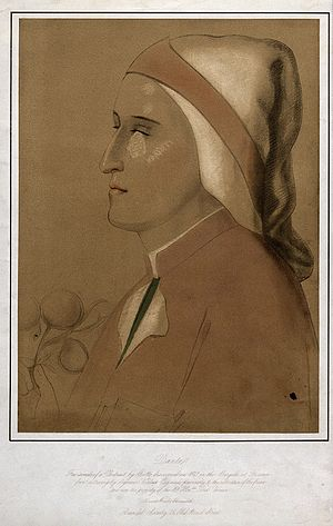 Seymour Kirkup - Dante Alighieri, 1859 lithograph, after Seymour Kirkup, after a fresco attributed to Giotto