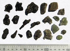 Darwin glass - Assorted fragments of Darwin glass (scale in mm)