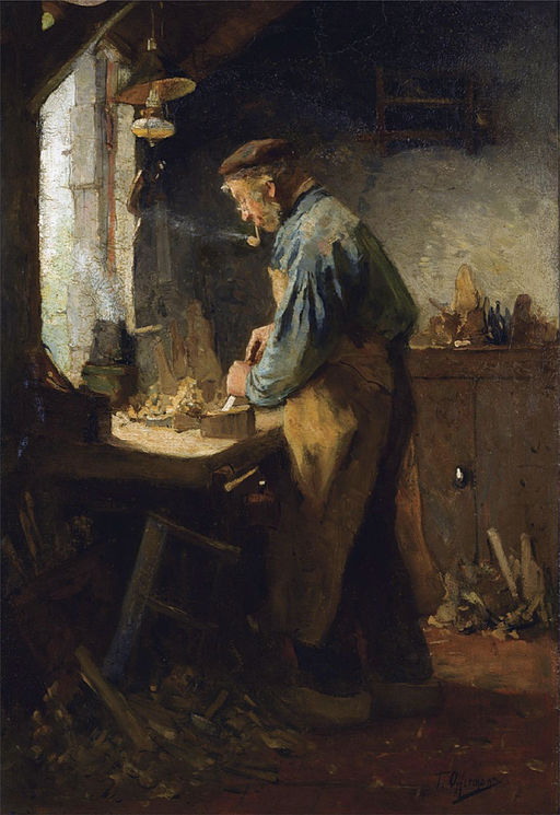 De dorpstimmerman by Tony Lodewijk George Offermans (1854-1911)