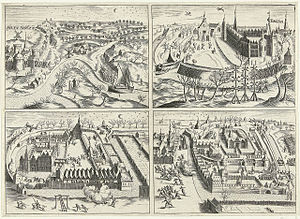 Capture of Breda (1590) - The capture of Breda in 1590 in four scenes. Print by Bartholomeus Dolendo