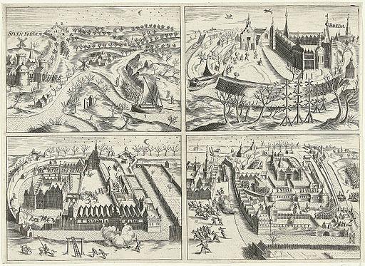 De inname van Breda door Prins Maurits op 4 maart 1590 in vier scènes - The capture of Breda by Prince Maurice in 1590 in 4 scenes-large