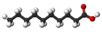 Ball-and-stick model of decanoic acid