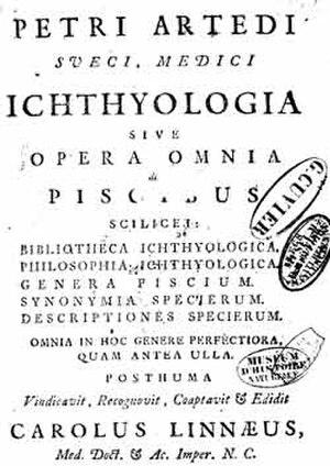 Ichthyology - Frontipiece from Ichthyologia, sive Opera Omnia de Piscibus by Peter Artedi