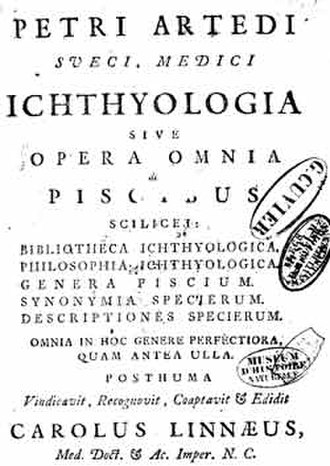 Ichthyology - Frontispiece from Ichthyologia, sive Opera Omnia de Piscibus by Peter Artedi