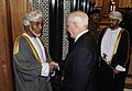 Defense.gov News Photo 101205-F-6655M-005 - Secretary of Defense Robert M. Gates is greeted by Omani Sultan Qaboos at the Bait Al Baraka Palace in Muscat, Oman, on Dec. 5, 2010.jpg
