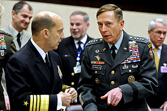 James G. Stavridis - U.S. Army General David H. Petraeus, right, with the U.S. Navy Admiral James G. Stavridis, commander of European Command and NATO's supreme allied commander for Europe in Brussels in 2011