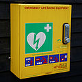 Defibrillator at Nuthurst, West Sussex, England.jpg