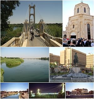 Deir ez-Zor before the civil war Deir ez-Zor suspension bridge •Armenian Genocide Memorial The Euphrates • 8 March Square Irrigation canal • Suspension bridge at night • Downtown Deir ez-Zor