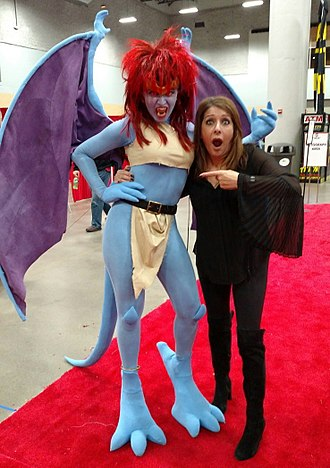 "Marina Sirtis - Demona voice actress Sirtis with Demona cosplayer ""Ezmeralda Von Katz"" at Wizard World Des Moines 2017"