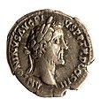 Denarius van Antoninus Pius in zilver, 140 tot 143 NC, vindplaats- Onbekend, collectie Gallo-Romeins Museum Tongeren, S-175.jpg