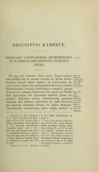 Descriptio Cambriae - The first page of the Descriptio in James Dimock's edition.
