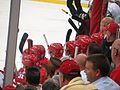 Detroit Red Wings Bench, Detroit Red Wings vs. Pittsburgh Penguins, Joe Louis Arena, Detroit, Michigan (21692464212).jpg