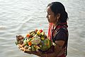Devotee with Offering - Chhath Puja Ceremony - Ramkrishnapur Ghat - Howrah 2013-11-09 4124.JPG