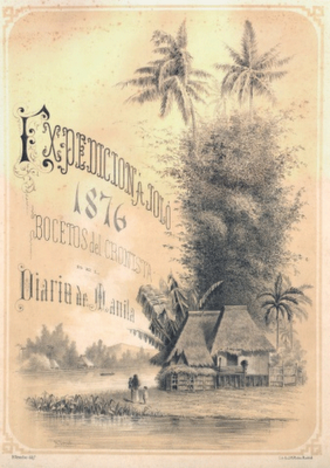 Diario de Manila - Diario de Manilas special supplement covering the expedition to Jolo in 1876. Drawing by Baltasar Giraudier