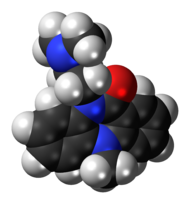 Space-filling model of the dibenzepin molecule