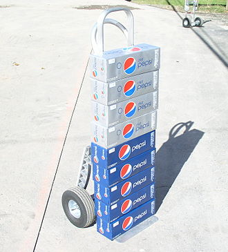 Diet Pepsi - 12-can packs of Pepsi and Diet Pepsi on a hand truck
