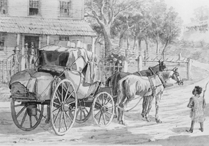 "Northwestern Turnpike - ""Stagecoach stop on the Northwestern Turnpike"" (1846), by Joseph H. Diss Debar. (""The first coach ... that ever traveled from Winchester to the Ohio River."")"