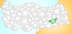 Location of the district of Diyarbakır within Turkey.