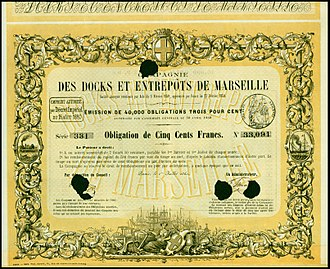 Docks (Marseille) - Bond of the Compagnie des Docks et Entrepôts de Marseille, issued 1. July 1860