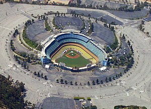 Dodger Stadium, home of the Los Angeles Dodgers.