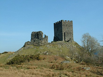 Dolwyddelan Castle - built by Llywelyn ab Iorwerth in the early 13th century to watch over one of the valley routes into Gwynedd Dolwyddelan Castle2.jpg