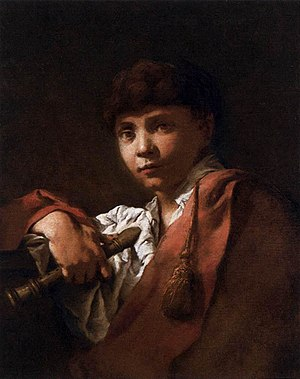 Domenico Maggiotto - Boy with Flute, 1740s, in the collection of Ca' Rezzonico, Venice