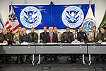 President Donald J. Trump participates in a U.S. Customs and Border Protection round table discussion at the U.S. Customs and Border Protection National Targeting Center, Friday, February 2, 2018, in Sterling, Virginia.