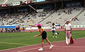 Donna Smith throwing javelin, 1992 Paralympics.jpg