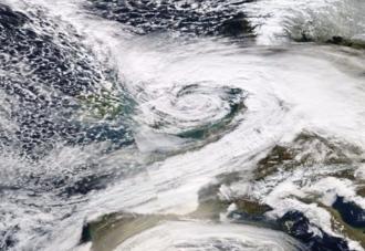2016–17 UK and Ireland windstorm season - MODIS image of Doris on 23 February 2017